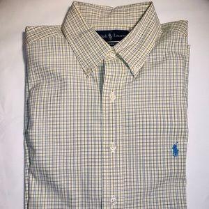 Ralph Lauren Yellow Plaid Shirt Size 16.5 34/35